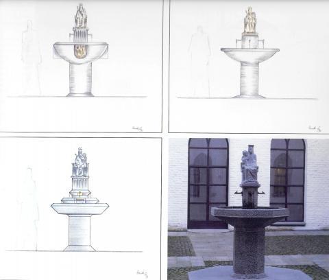 Rasche, Ernst: Entwurfszeichnungen zur Brunnenskulptur (Marienbrunnen); Foto: Kunstmuseum Mülheim an der Ruhr 2016.