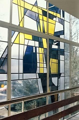 Dahler, Gustav: Fenster in Berufskolleg-Stadtmitte, Standort Kluse, Detail; Foto: Kunstmuseum Mülheim an der Ruhr 2014.