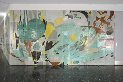 Dahler, Gustav: Wandgestaltung vor Aula im Gymnasium Broich, Detail; Foto: Kunstmuseum Mülheim an der Ruhr/ Ralf Raßloff 2007.