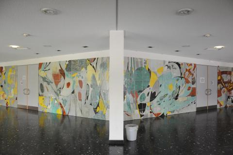 Dahler, Gustav: Wandgestaltung vor Aula im Gymnasium Broich, Gesamtansicht; Foto: Kunstmuseum Mülheim an der Ruhr 2015.
