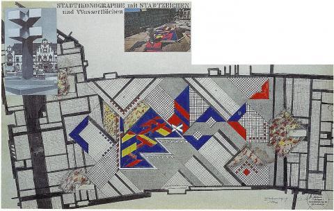 Hajek, Otto Herbert: Brunnen mit Platzgestaltung/ Synagogenplatz (ehemals: Viktoriaplatz), Lageplan, © VG Bild-Kunst, Bonn 2019; Foto: Kunstmuseum Mülheim an der Ruhr 1978.