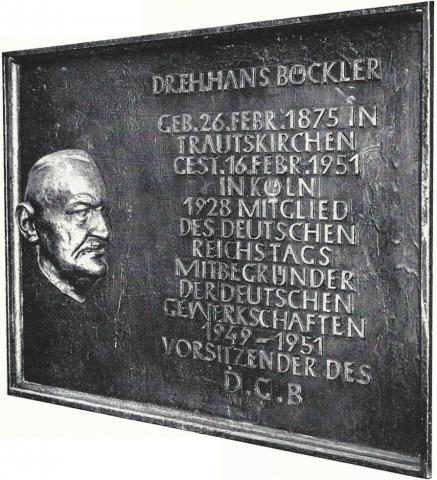 Kühn, Herbert: Hans Böckler - Gedenktafel, Foto aus: Mülheimer Jahrbuch 1976.
