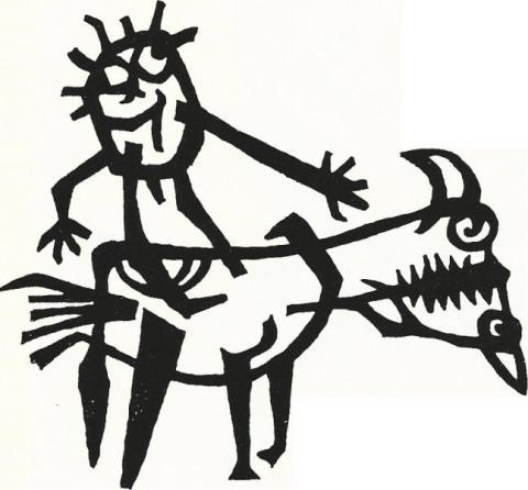 Lankhorst, Helmut: Entwurf für Metallplastik an Außenwand der Schule an der Bruchstraße (Pferd mit Reiter/ Kopffüßler), Foto: Kunstmuseum Mülheim an der Ruhr o.J..
