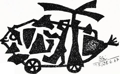 Lankhorst, Helmut: Phantastisches Gefährt, Entwurf 1967;  Abb. aus: AK: Helmut Lankhorst zum 60. Geburtstag. Gemälde, Aquarelle, Zeichnungen, Collagen und Materialbilder, (01.03.-05.04.1969 im Schloß Styrum), hrsg. v. Städt. Museum Mülheim a d Ruhr, S. 9.