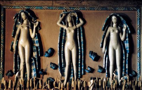 Laeuger, Max: Brunnenfiguren (Drei Grazien?), Zustand: um 1990 (?); Foto: Kunstmuseum Mülheim an der Ruhr, o.J. (um 1990 ?).