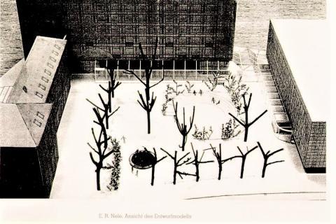 Nele, E.R.: Platzgestaltung, Entwurf für den Wettbewerb; Foto: Kunstmuseum Mülheim an der Ruhr 1985.