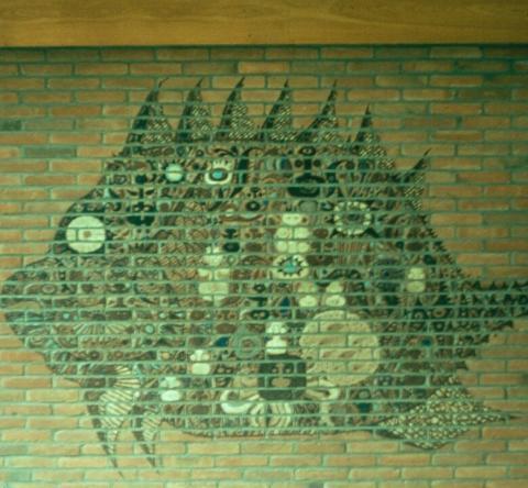 Netzewitz, Karlheinz: Wandbild (Fisch); Foto: Kunstmuseum Mülheim an der Ruhr o.J.