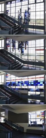 Thonett, Will: Fensterwand, Fotomontage der Ansichten auf den verschiedenen Etagen; Foto: Kunstmuseum Mülheim an der Ruhr 2009.