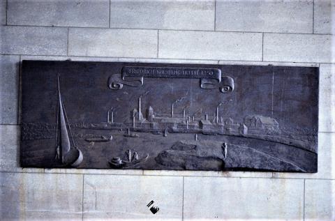 WW: Stadtansicht der Friedrich-Wilhelms-Hütte vor Beginn der Rathaus-Sanierung, Foto: Kunstmuseum Mülheim an der Ruhr, vor 2001.
