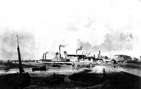 Vorbild für das Relief: Ansicht der Friedrich-Wilhelms-Hütte aus dem Jahr 1840, Foto: Stadtarchiv Mülheim an der Ruhr.