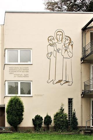 Baur, Ludwig: Christus, Wandbild an Seniorenheim, Foto: Kunstmuseum Mülheim an der Ruhr/ Ralf Raßloff 2007.