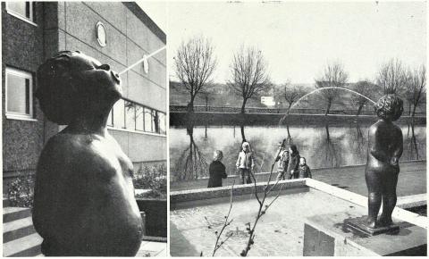Jötte-Heidemann, Erika: Männeken - Brunnenskulptur, Zustand 1975; Foto: Mülheimer Jahrbuch 1975.