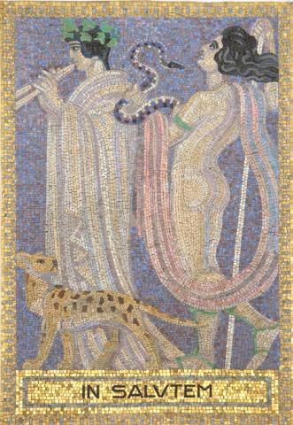 Köppen, Wilhelm: IN SALUTUM (Mosaik 3: Dionysos und eine Mänade); Foto: Kunstmuseum Mülheim an der Ruhr 2001.