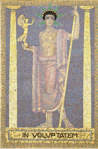 Köppen, Wilhelm: IN VOLUPTATEM (Mosaik 5: Der junge Zeus ); Foto: Kunstmuseum Mülheim an der Ruhr 2001.