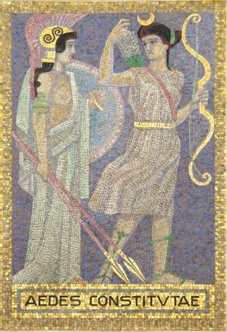 Köppen, Wilhelm: AEDES CONSTITUTAE (Mosaik 6: Athene und Artemis); Foto: Kunstmuseum Mülheim an der Ruhr 2001.