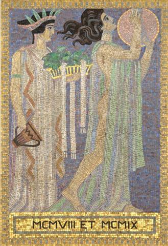 Köppen, Wilhelm: MCMVIII ET MCMIX (Mosaik 8: Zwei Tänzerinnen); Foto: Kunstmuseum Mülheim an der Ruhr 2001.