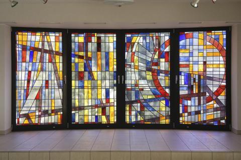 Kühn, Herbert: Glaswand - Gesamtansicht, Foto: Kunstmuseum Mülheim an der Ruhr/ Ralf Raßloff 2008.