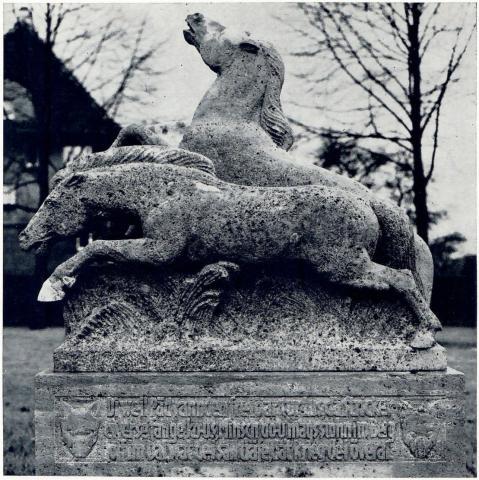 Künne, Arnold: Bergische Wildpferde, Detail mit Schrifttafel, Foto: Mülheimer Jahrbuch 1967.