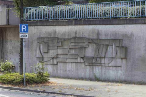 Siepmann, Heinrich: Betonreliefs am Ruhrufer, Detail Relief Mitte; Foto: Kunstmuseum Mülheim an der Ruhr/ Ralf Raßloff 2020.