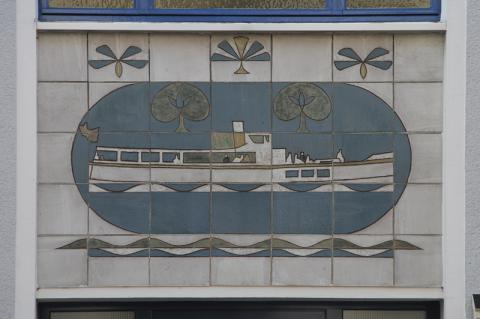 Dahler, Gustav: Wandgestaltung Gerberstr. 10, Detail (Schiff), Foto: Kunstmuseum Mülheim an der Ruhr 2015.