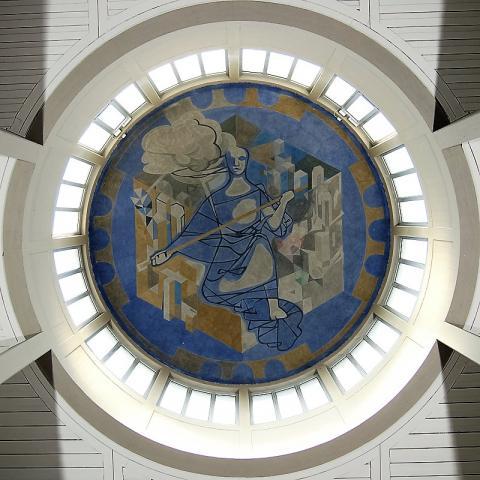 Dahler, Gustav: Wandmalerei in Kuppel der Trauerhalle am Hauptfriedhof, Foto: Kunstmuseum Mülheim an der Ruhr 2009.