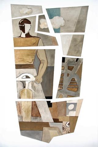 Altena, Karl: Mann mit Presslufthammer, Wandmalerei in Rathausrotunde (mit Blick in die Rotunde links; 2. v. l.), Foto: Kunstmuseum Mülheim an der Ruhr/ Ralf Raßloff 2008.