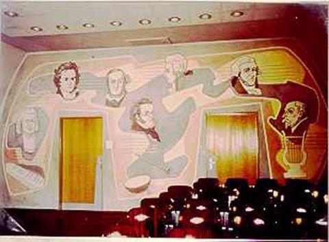 Kitzler-Ivenet, Josef: Wandmalerei, Zustand 1980er (?); Foto: Kunstmuseum Mülheim an der Ruhr o.J.