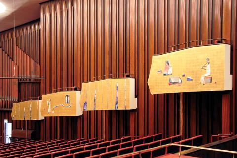 Grabenhorst/ Jünger/ Mergenthal: Gestaltung der Logenwangen im Konzertsaal der Stadthalle, Foto: Kunstmuseum Mülheim an der Ruhr/ Ralf Raßloff 2008, © 2020 VG Bild-Kunst, Bonn.