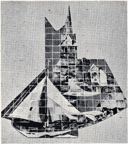 Dahler, Gustav: Wandgestaltung mit Stadtansichten, Foto aus: Mülheimer Jahrbuch 1955.