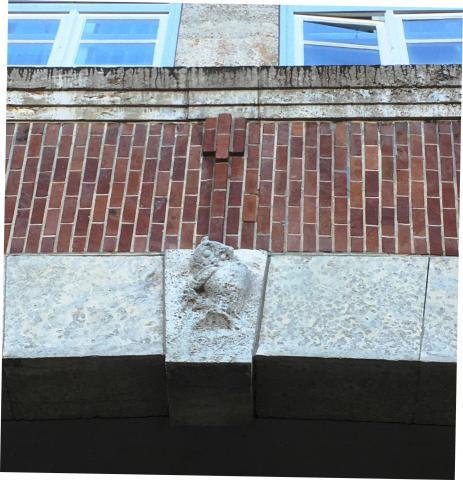 Meller, Willy: Keilstein mit Eule, Relief am Portal der Realschule Stadtmitte, 1925-1928.