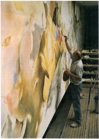 Schubert, Peter: o. T. (abstrakte Wandmalerei); Foto: Mülheimer Jahrbuch 1989, S. 143.