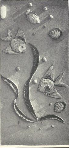 Klucken, Alois: Fische, Keramikrelief; Foto: Mülheimer Jahrbuch 1960.