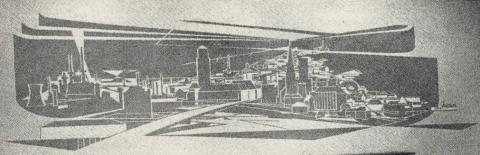 Dahler, Gustav: Geldumlauf (Relief in ehem. Sparkasse Mülheim an der Ruhr, Viktoriastraße, Kassenhalle, rechts), Foto aus: Mülheimer Jahrbuch 1960, Mülheim an der Ruhr 1960, S. 5.