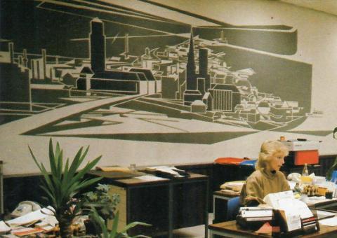 Dahler, Gustav: Geldumlauf (Relief in ehem. Sparkasse Mülheim an der Ruhr, Viktoriastraße, Kassenhalle, rechts), Foto aus: Mülheimer Jahrbuch 1985, Mülheim an der Ruhr 1985, S. 152.