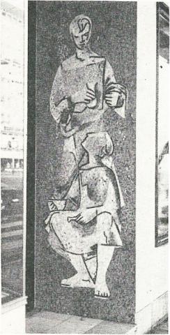 Dahler, Gustav: Wandmosaik gegenüber der Thomasapotheke, Foto: Mülheimer Jahrbuch 1960, Mülheim an der Ruhr 1959 , S. 98.