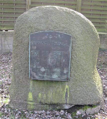 Gedenkstein für Gefallene im Zweiten Weltkrieg (Mitarbeiter der Firma Gothe & Co. GmbH); Foto: Kunstmuseum Mülheim an der Ruhr 2017.