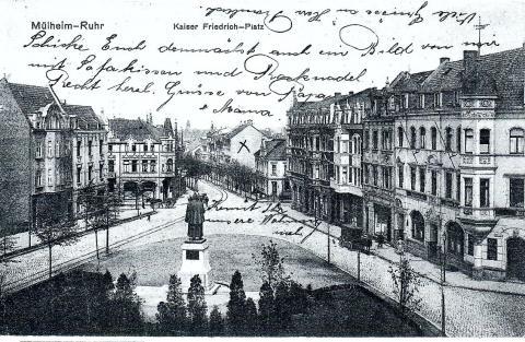 Künne, Arnold: Postkarte mit Ansicht des Kaiser Friedrich III.-Denkmal, Foto: Stadtarchiv Mülheim an der Ruhr o.J..