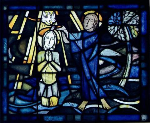 Hellwig, Karl: Chorfenster - ev. Kirche in Broich, Detail: Taufe Jesu; Foto: Mülheimer Jahrbuch 2009, S. 285.