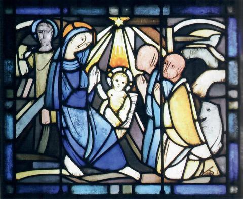 Hellwig, Karl: Chorfenster - ev. Kirche in Broich, Detail: Anbetung der Hirten, Foto: Mülheimer Jahrbuch 2009, S. 285.