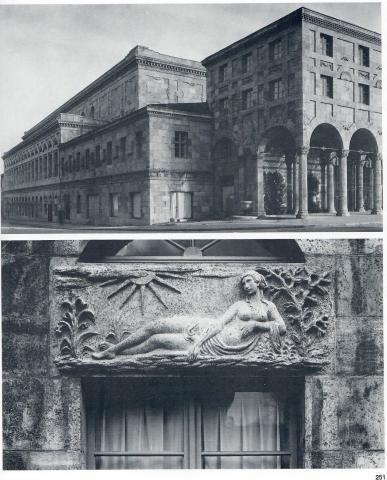 Binz, Hermann: Supraporten-Relief, Außenansicht Stadthalle und Liegender weiblicher Akt, Foto: Cremers 1926.