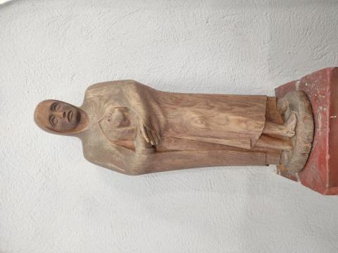 Rasche, Ernst: Maria mit Kind; Detail Skulptur, Ansicht von vorn; Foto: Kunstmuseum Mülheim an der Ruhr 2020.