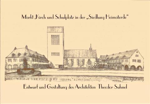 Suhnel, Theodor: Entwurfszeichnung Sunderplatz; Foto: Stadtarchiv Mülheim an der Ruhr.