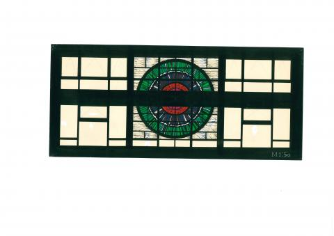 Hirsch, Ursula: Entwurf zur Fensterwand in der Katharinenschule 1974; Foto: Privatarchiv Ursula Hirsch.