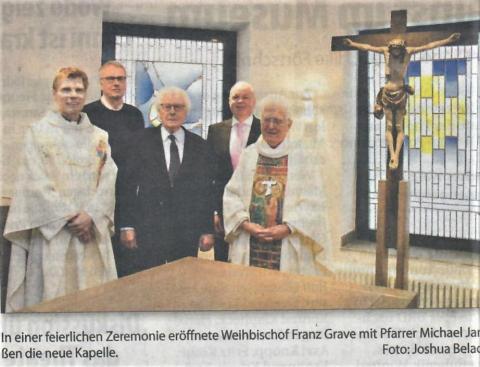 Zeitungsartikel zur Einweihung der neuen Kapellenausstattung vom 9. März 2016 (MHerWoche).